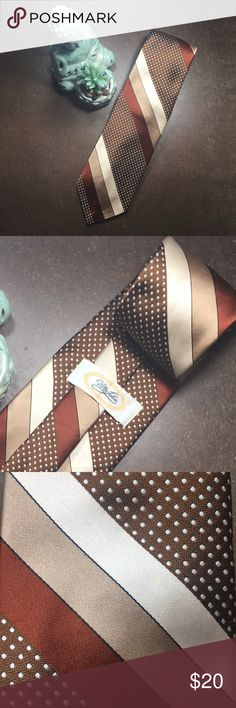 "Mr. John Vintage Polyester Tie 53"" X 4.25"" Mr. John Men's Vintage Polyester Tie 53"" X 4.25"" Brown W/ Multi-color from the 1970's. Vintage Accessories Ties"
