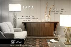 SABA 1041 Floorlamp; 1031 Tablelamp. Solid brass structure and details.