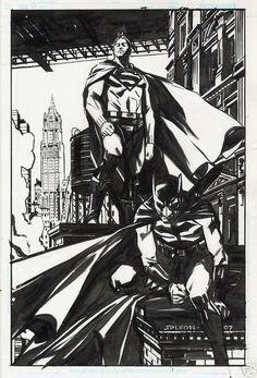 Superman & Batman by John Paul Leon Dc Comics Heroes, Arte Dc Comics, Bd Comics, Batman Comics, Comic Book Artists, Comic Artist, Comic Books Art, Batman And Superman, Spiderman