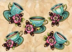 Tattoo Tattoo Tattoo Flash - vintage - tea cups - pink rose