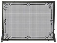 Fireplace Screens and Doors 38221: Uniflame S-1025 Single Panel Black Wrought Iron Screen With Decorative Scroll -> BUY IT NOW ONLY: $120.6 on eBay!