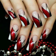 Red Ribbon Bang Red Ribbon Bang More from my site Red & Silver New Collections of Best Valentine's Day Nail Art Design Fantastic Red Nails Ideas For Stylish Ladies ✨ REPOST – – Elegant Nail Designs, Red Nail Designs, Pretty Nail Art, Elegant Nails, Beautiful Nail Designs, Beautiful Nail Art, Gorgeous Nails, Acrylic Nail Designs, Cool Nail Art