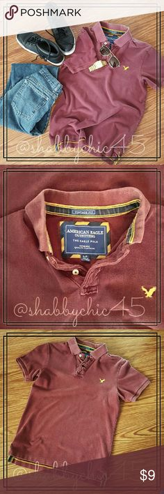 AEO Men's Vintage Fit Piqu? Polo Shirt Just in time to arrive in style! Great AEO vintage fit polo in a vintage brushed maroon color with sought fading. No stains, holes or tears. Collar and sleeve cuffs are intact with no fraying.    ??Smoke free home. No trades. Open to reasonable offers unless marked as firm.? Happy Poshing!! ?? American Eagle Outfitters Shirts Polos
