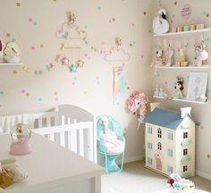Fint med prickiga väggar i barnrum, tapet eller måla själv.