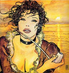 signorina con pipa dalla cover di El Gaucho, di Hugo Pratt & Milo Manara