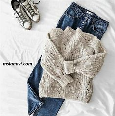 46 Ideas For Knitting Sweaters Outfit Beige Lace Knitting, Knitting Stitches, Knit Crochet, Knitting Patterns, Knitting Sweaters, Knitting Needles, Knit Sweater Outfit, Pullover Outfit, Knitwear Fashion
