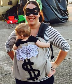 Babywearing Halloween costume: Bank Robber and Money