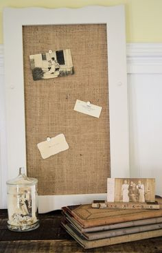 Painted Frame and Burlap over Cork Board: Shabby Love