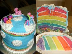 "My Little Pony ""Rainbow"" Cake made for my daughter's 6th birthday with some help from my best friend, @Melanie Baldwin.   #rainbow #cake #pony"