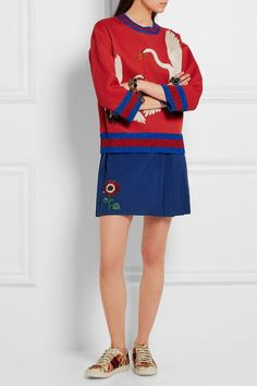 Gucci for NET-A-PORTER - Floral-appliquéd Wool-blend Mini Skirt - Royal blue - IT