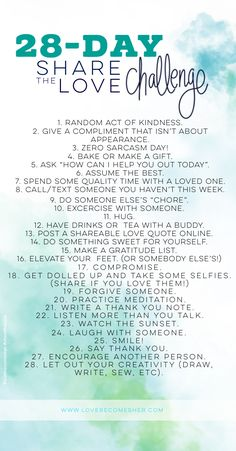 28 Day Share the Love Daily Challenge for Growth Through Sharing Love and Encouragement (+Self Love) Love Challenge, Writing Challenge, Happiness Challenge, Challenge Accepted, Self Care Activities, Daily Challenges, Positive Mindset, Positive Vibes, Self Improvement Tips
