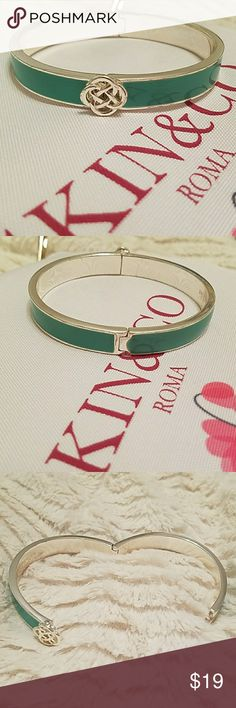 "Stella & Dot ""tiffany blue"" bangle bracelet Silver tone, ""tiffany blue"" color, Celtic knot. Knot embellishment opens the bangle. (Push lever down to pull apart and close) Stella & Dot Jewelry Bracelets"