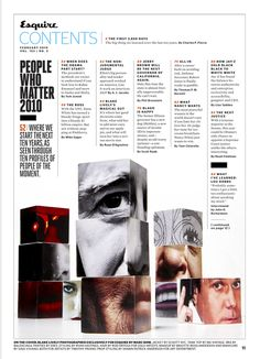 Beautiful Typography and Editorial and Magazine Design. Esquire's February Table of Contents page