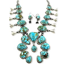 Kingman Turquoise, Turquoise Necklace, Squash Blossom Necklace, Native American Jewelry, Navajo, Necklace Lengths, Pottery, Sterling Silver, Metal