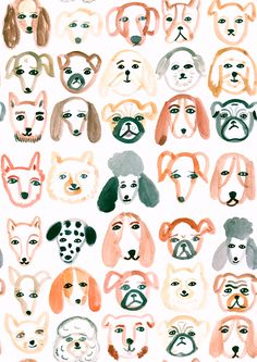 Emily Nelson Illustration dog repeat pattern.