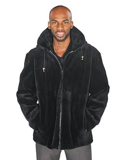 Sheared beaver is the perfect fur for the man on the go! Zip up this plush, rich, black sheared beaver and you are ready to face the coldest days with ease, Fur Jacket Mens, Mens Fur, Men's Leather Jacket, Black Bomber Jacket, Hoodie Jacket, Mens Winter Fashion Jackets, Winter Outfits Men, Outfit Winter, Winter Clothes