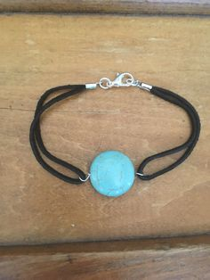Turquoise and black suede bracelet