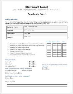 Excel Feedback form Template
