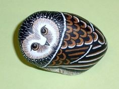 SAWWHET OWL painted rock bonsai accent terrarium...