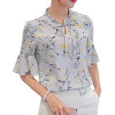 Women Shirts Blouse 2017 Summer New Fashion Slim Short Sleeve Printed Chiffon Blouses Ladies Casual Tops Shirt Plus Size S-3XL #Affiliate