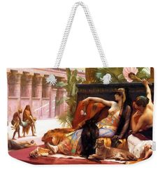 Cleopatra Weekender Tote Bag featuring the painting Cleopatra Testing Poisons On Those Condemned To Death by Cabanel Alexandre