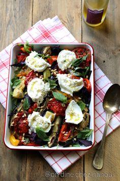 légumes d'été au four , burrata ,