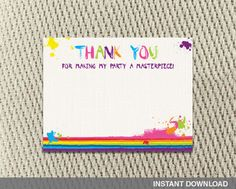 Thank you card  Art Party  Paint  Splatter  by YondeeCelebrations