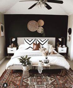 Quirky Home Decor .Quirky Home Decor Home Decor Bedroom, Bedroom Wall, Modern Bedroom, Black Bedrooms, Master Bedroom Design, Sloped Ceiling Bedroom, Tribal Bedroom, Black Master Bedroom, Gothic Bedroom