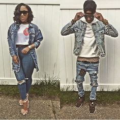 Lola Monroe, Bonnie Clyde, Double Denim, Fashion Couple, Just Relax, New Pins, Military Jacket, Casual Outfits, Relationship