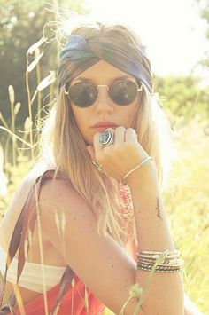 Festival Goer: headband, round sunnies and lots of bracelets, boho dress