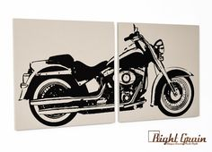 Harley Davidson Motorcycle Screenprint Wall Art - Great Gift for Him on Etsy, $50.00