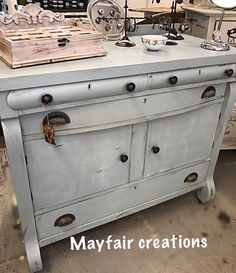 Mayfaire Creations :l: CeCe Caldwell's Chalk + Clay Paint :l: Smoky Mountain Gray mixed with Simply White :l: Empire Buffet :l: Painted Furniture :l: Farmhouse Style