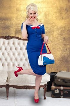 Glamour Bunny - Audrey dress blue