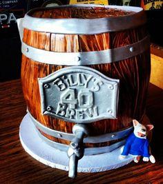 Wooden beer keg cake Shane