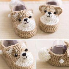 Teddy bear baby booties crochet