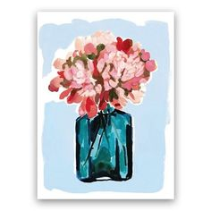 """""""Peony Bottle"""" - Painting Limited Edition Art Print by Betty Hatchett. Bottle Painting, Bottle Art, Unique Wall Art, Custom Art, Canvas Frame, Peonies, Wall Art Prints, How To Draw Hands, Pink Yellow"""