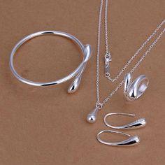 Superiore di prezzi di fabbrica dei monili di goccia placcati argento dei monili imposta collana braccialetto braccialetto anello orecchino libero di trasporto SMTS222