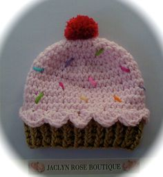 Crochet baby beanie CUPCAKE hat  premie by JACLYNROSEBOUTIQUE, $15.95