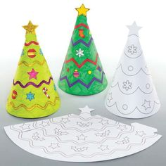 Colour In Christmas Cones - easy Christmas craft for kids! Just print, cut out and colour in to create these cute cone characters! Christmas Activities For Kids, Winter Crafts For Kids, Preschool Christmas, Christmas Crafts For Kids, Craft Activities For Kids, Preschool Crafts, Christmas Colors, Christmas Projects, Kids Christmas