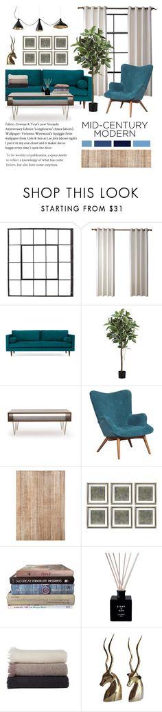 """Mid Century Modern"" by julielehenka ❤ liked on Polyvore featuring interior, interiors, interior design, home, home decor, interior decorating, Joybird, Eichholtz, Design Within Reach and modern"