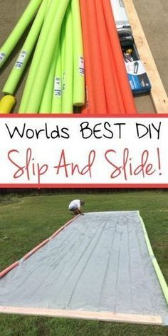 A must try for this summer! The best DIY slip and slide that I've ever seen! Slip and Slide ideas DIY Slip and Slide Tarp Summer Activities