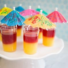 T is for: Tequila Sunrise Jello Shots - e is for e - Cocteles Bebidas Tequila Jello Shots, Jello Pudding Shots, Tequila Drinks, Luau Jello Shots, Alcoholic Beverages, Vodka Tequila, Wine Cocktails, Tequila Sunrise, Jell O