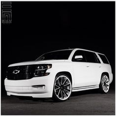 """2015 Chevy Tahoe! Customized with color matched front & rear bumper trim and side skirts, gloss black painted grilles and accents, painted badges, and lowered on two-tone 26"""" Gianelle wheels.... Dropped Trucks, Lowered Trucks, Suv Trucks, Suv Cars, Chevy Trucks, Lowrider Trucks, 2015 Chevy Tahoe, Chevrolet Tahoe, Chevrolet Suburban"""