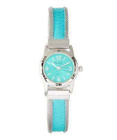 Another great find on #zulily! Blue & Silver Trim Round Faux Leather-Strap Watch by Geneva #zulilyfinds