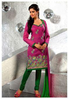 USD 33.19 Pink Resham Work Churidar Salwar Kameez   32982