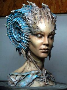 """blue - woman - head - """"Caracolilla"""" - resin bust sculpted by digital sculpture Abner Marin and painted by Matsugoro Figurative Sculpture, Art Dolls, Digital Sculpture, Fantasy Art, Creature Art, Fantasy Creatures, Art, Mermaid Art, Sculpting"""