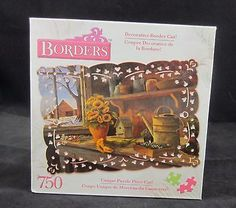 Borders Winter's Sun 750 Piece Unique Cut Jigsaw Puzzle Sunflowers Shed