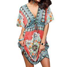 Retro Women Bohemian Dress Vintage Floral Pattern Paisley Print Hippie V Neck Short Sleeve Beach Wear Summer Dress Vestidos-in Dresses from Women's Clothing & Accessories on Aliexpress.com | Alibaba Group