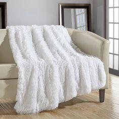 Chic Home 1 Piece Elana Shaggy Faux Fur Supersoft Ultra Plush Decorative 50 x Throw Blanket White