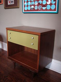 painted mid-century modern, like the color on the drawers